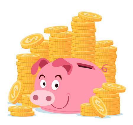 happy piggy bank surrounded by stack of gold coin Illustration