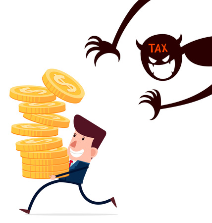 taxpayers: successful businessman carry stack of gold coins enjoy his hardwork haunted by taxes