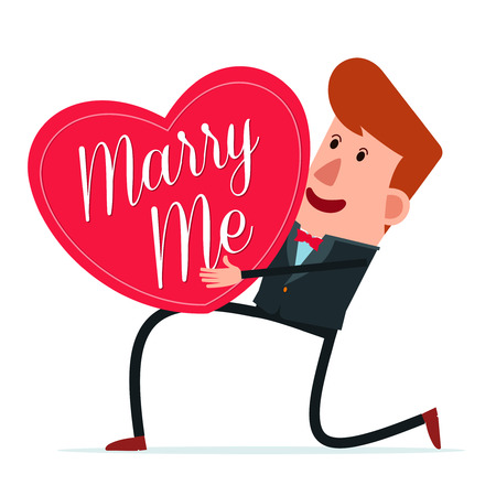 young man in a natty suit proposing for marriage Illustration