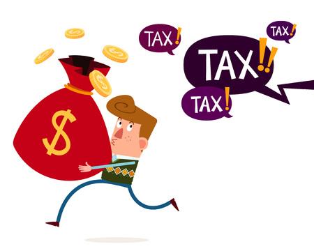 junge Millionär tragen moneybags laufen weg von steuerlichen und finanziellen Bedrohung