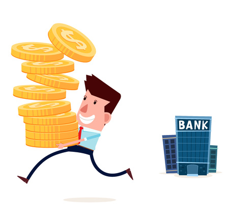 withdraw: young businessman withdraw his saving from bank Illustration