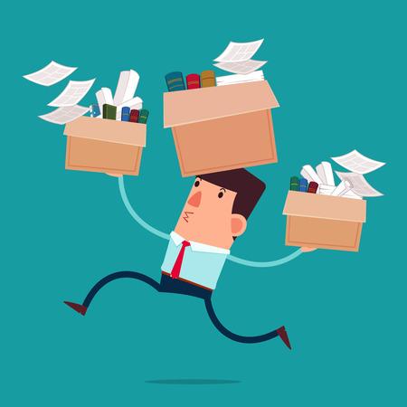 jeunes boîtes d'affaires portent avec son travail de passer à un nouveau bureau