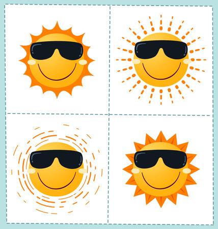 collection of 4 orange sun icons for summer season