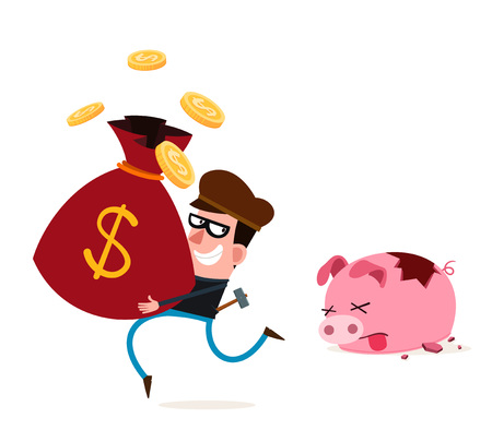 bank robber: tricky thief stealing money from piggy banks