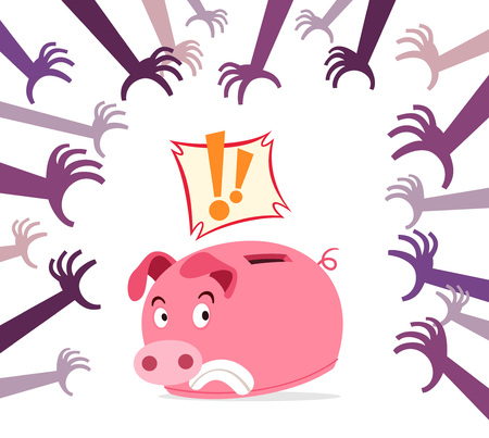 threat: piggy bank get panic because of various threat Illustration