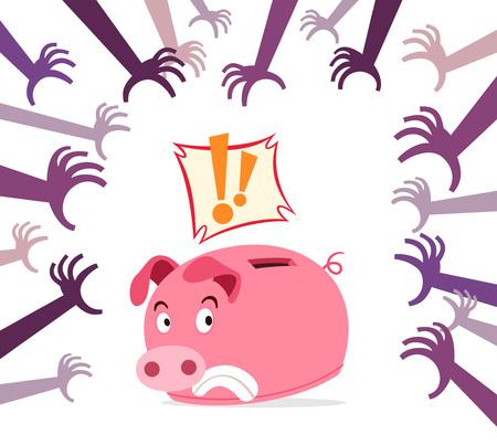 piggy bank get panic because of various threat Illustration