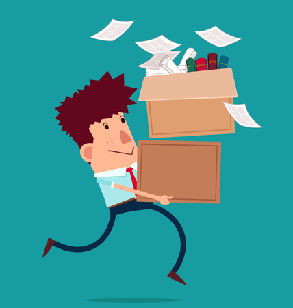 moving office: young businessman carry boxes with his work moving to new office