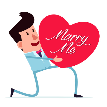 to confess love: young man in a natty suit proposing for marriage Illustration