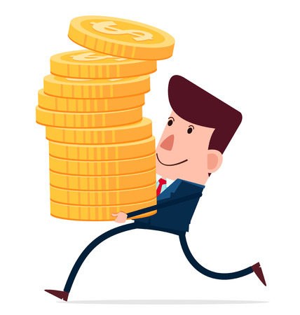young businessman carry stack of coins Illustration