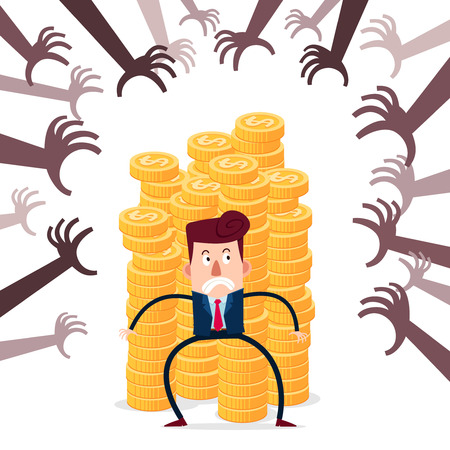 successful businessman guarding stack of gold coins from various financial threat Illustration