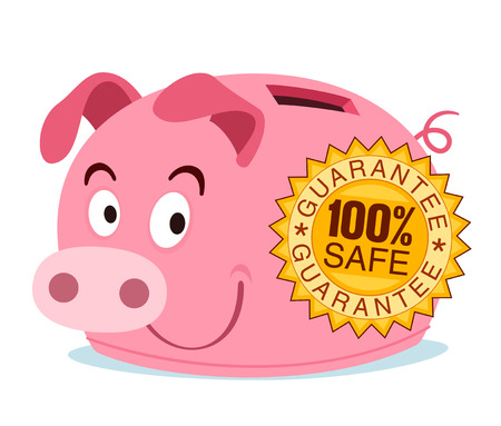 piggy bank get branded with safety guarantee stamp Illustration