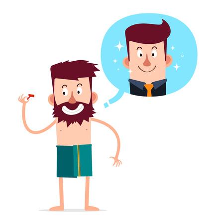 젊은 수염을 가진 남자가 면도로 외모를 개선하고 싶다.