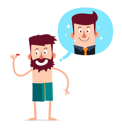 disordered: young bearded man want to improve his look by shaving