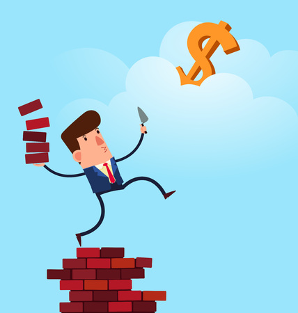 young businessman build a structure to reach his for success Illustration