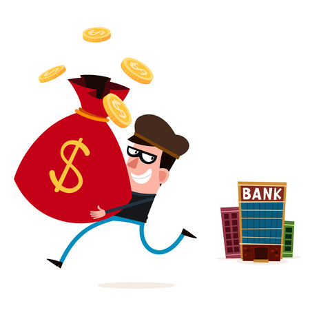 tricky thief stealing money from bank