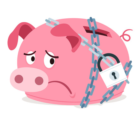 stressed piggy bank because of get chained
