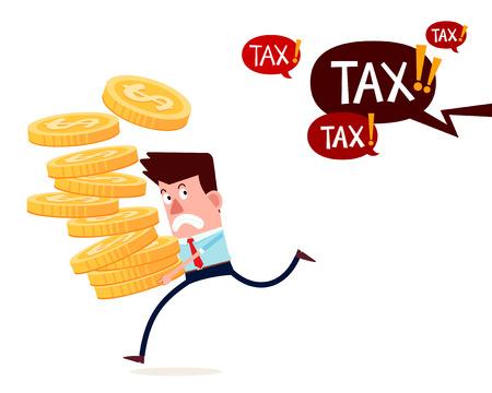 młody biznesmen sukces nosić stos złotych monet ucieka od płacenia podatków Ilustracje wektorowe
