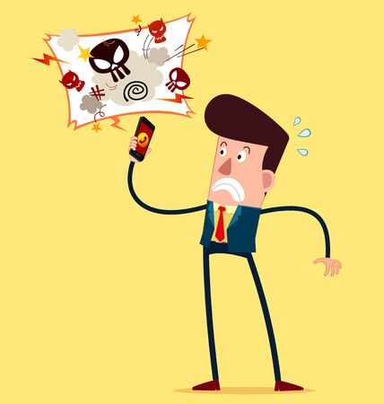 young businessman: young businessman getting an angry call Illustration