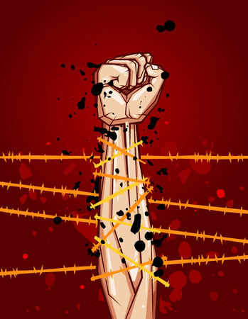 uprising: clenched fist vector illustration for resistance and revolution symbol