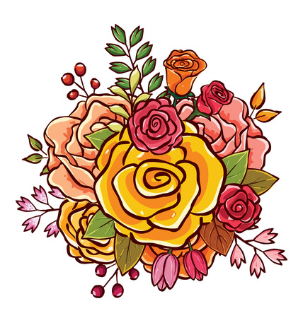 colorful flower bouquet vector illustration, best choice for classic and romantic design, easy to break apart and rearrange