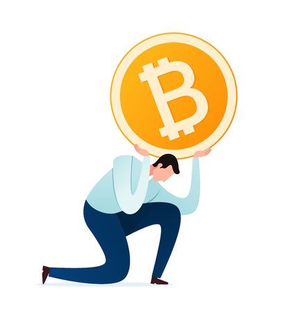 young businessman burdened by digital currency and financial problem Иллюстрация