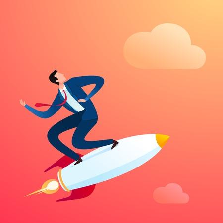 young businessman ride a super fast rocket Ilustração