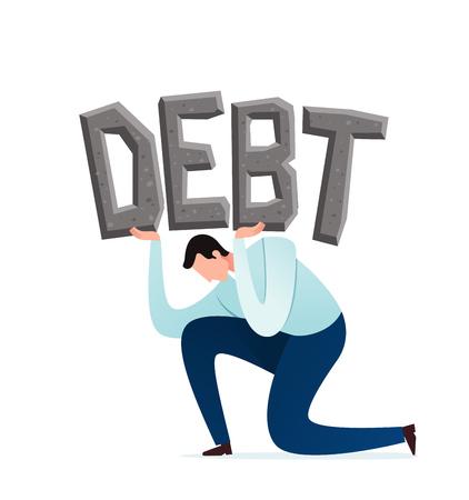 young businessman burdened by debt and financial problem Иллюстрация