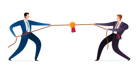 dwóch biznesmenów próbuje się nawzajem pokonać Ilustracje wektorowe