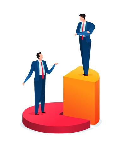 questioning business sharing result Иллюстрация