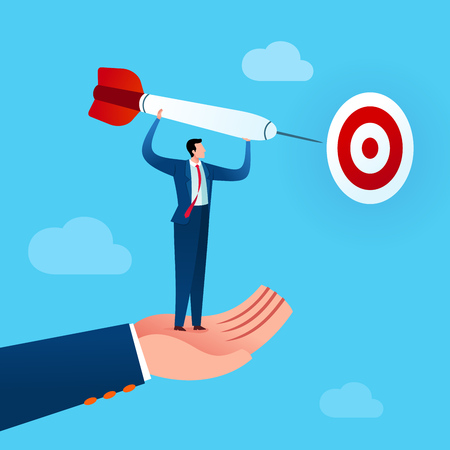 businessman get an assist to put a dart in target board. Business concept vector illustration.