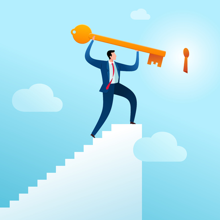 businessman climb the stairs to put a key in its place as an problem solution. Business concept vector illustration. Illustration