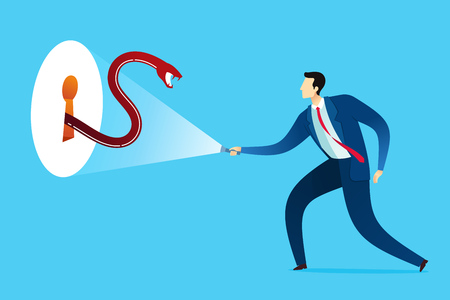 Businessman get shocked and threatened by giant snake in a keyhole. Business concept vector illustration.