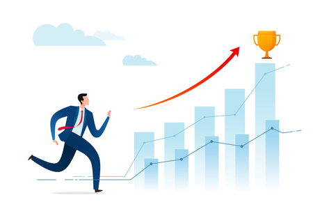 Businessmen run to achieve better achievements and get award trophies. Business concept vector illustration.