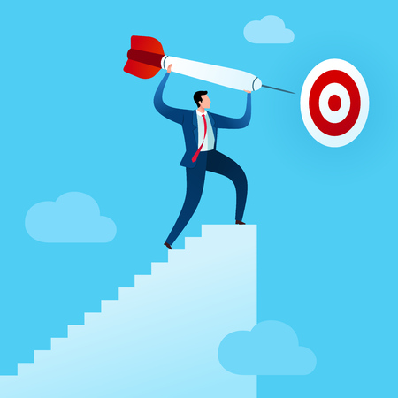 businessman climb the stairs to put a dart in target board. Business concept vector illustration.