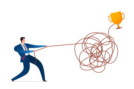 Businessman solve untangle the rope to find a solution. Business concept illustration.