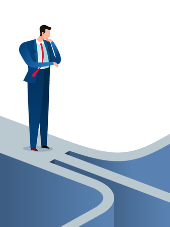 Businessman found an awful direction arrow guide and get confused. Business concept vector illustration.