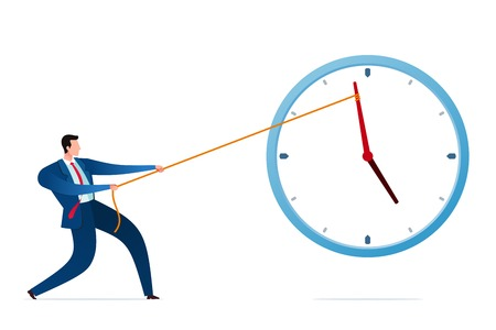 Businessman put his strength to stop the time and deadline. Business concept vector illustration. Иллюстрация