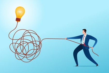 Businessman solve untangle the rope to find a solution. Business concept illustration. Иллюстрация
