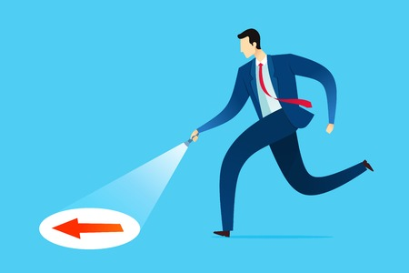 Businessman searching guidance for new opportunity and solution. Business concept vector illustration. Иллюстрация
