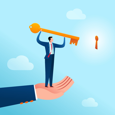 businessman get an assist to put a key in its place as an problem solution. Business concept vector illustration.