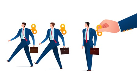 Businessman get controlled and manipulated by their master like a toy. Business concept vector illustration.