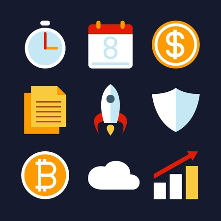 Business activity and strategy icon collection. Business concept vector illustration.