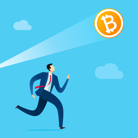 Businessman run to reach the digital currency opportunity as a future of financial business. Business concept vector illustration. Иллюстрация