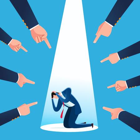 L'homme d'affaires est blâmé pour la perte et l'échec de l'entreprise. Illustration vectorielle de concept d'entreprise.
