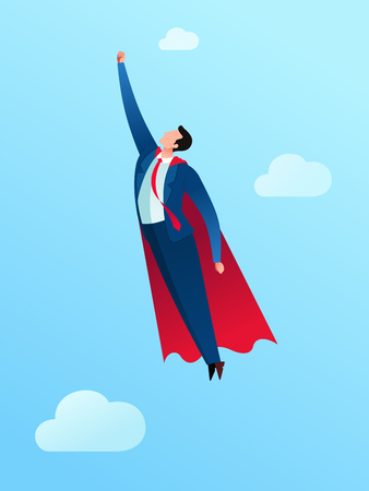 Businessman wearing a cape and taking off to high sky. Business concept vector illustration. Иллюстрация