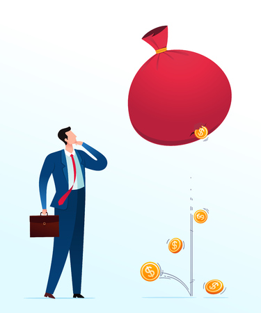 Failure investment. Business concept vector illustration.