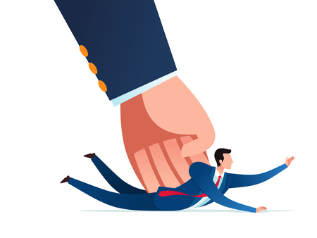 Businessman get pressed with heavy task and responsibility. Business concept vector illustration.