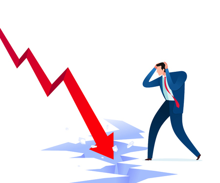 Businessman get shocked because of business failure. Business concept vector illustration.