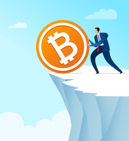 Businessman throw away bitcoin currency saving. Business concept vector illustration.