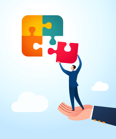Businessman get a guidance to uniting puzzle. Business concept vector illustration.